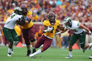 Rodney Smith #1 of the Minnesota Golden Gophers carries the ball for a gain in the first quarter against the Colorado State Rams at TCF Bank Stadium on September 24, 2016 in Minneapolis, Minnesota.