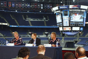 Scott Howson Columbus Blue Jackets Press Conference Introducing New Players Jeff Carter and James Wisniewski