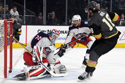 James Neal #18 of the Vegas Golden Knights scores a goal against Sergei Bobrovsky #72 of the Columbus Blue Jackets in the second period of their game at T-Mobile Arena on January 23, 2018 in Las Vegas, Nevada.