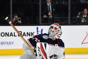 Sergei Bobrovsky #72 of the Columbus Blue Jackets tends net against the Vegas Golden Knights in the second period of their game at T-Mobile Arena on January 23, 2018 in Las Vegas, Nevada. The Golden Knights won 6-3.