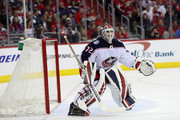 Goalie Sergei Bobrovsky #72 of the Columbus Blue Jackets follows play against the Washington Capitals during Game Five of the Eastern Conference First Round during the 2018 NHL Stanley Cup Playoffs at Capital One Arena on April 21, 2018 in Washington, DC.