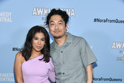 "(L-R) Chrissie Fit and Dumbfoundead attends Comedy Central's ""Awkwafina is Nora From Queens"" Premiere Party at Valentine DTLAon January 15, 2020 in Los Angeles, California."