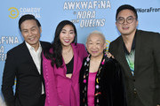 "(L-R) BD Wong, Awkwafina,  Lori Tan Chinn, and Bowen Yang attend Comedy Central's ""Awkwafina is Nora From Queens"" Premiere Party at Valentine DTLAon January 15, 2020 in Los Angeles, California."