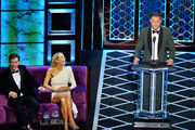 (L-R) Sean Hayes, Nikki Glaser and Blake Griffin react onstage during the Comedy Central Roast of Alec Baldwin at Saban Theatre on September 07, 2019 in Beverly Hills, California.