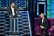 Blake Griffin (L) and Alec Baldwin react onstage during the Comedy Central Roast of Alec Baldwin at Saban Theatre on September 07, 2019 in Beverly Hills, California.
