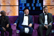 (L-R) Chris Redd, Jeff Ross, and Blake Griffin attend the Comedy Central Roast of Alec Baldwin at Saban Theatre on September 07, 2019 in Beverly Hills, California.