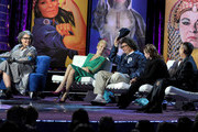 (L-R) Roastee Roseanne Barr, actress Ellen Barkin, comedian Jeffrey Ross, actress Carrie Fisher and comedian Gilbert Gottfried speak onstage during the Comedy Central Roast of Roseanne Barr at Hollywood Palladium on August 4, 2012 in Hollywood, California.