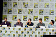 "(L-R) Actor Seth Meyers, Co-Creator/Writer/Executive Producer Michael Shoemaker, actor Taran Killam, actor Josh Meyers, and Head Writer Dan Mintz speak on the panel for Hulu's Original ""The Awesomes"" during Comic-Con for ""The Awesomes"" on July 26, 2014 in San Diego, California."