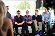 "(L-R) Actors Josh Meyers, Seth Meyers, Co-Creator/Writer/Executive Producer Michael Shoemaker, actor Taran Killam, and Head Writer Dan Mintz promote Hulu's Original ""The Awesomes"" during Comic-Con for ""The Awesomes"" on July 26, 2014 in San Diego, California."
