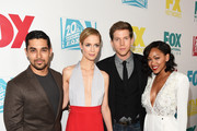 (L-R) Actors Wilmer Valderrama, Laura Regan, Stark Sands and Meagan Good attend the 20th Century Fox party during Comic-Con International 2015 at Andaz Hotel on July 10, 2015 in San Diego, California.
