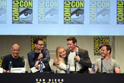 (L-R) Actor James McAvoy, director Bryan Singer, actress Jennifer Lawrence, actor Hugh Jackman and actor Michael Fassbender speak onstage at the 20th Century FOX panel during Comic-Con International 2015 at the San Diego Convention Center on July 11, 2015 in San Diego, California.