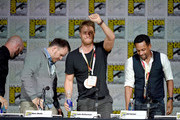 "(L-R) Writer Craig Sweeny, director Marc Webb, actors Jake McDorman and Hill Harper speak onstage at the CBS TV Studios' panel for ""Limitless"" during Comic-Con International 2015 at the San Diego Convention Center on July 9, 2015 in San Diego, California."