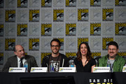 """(L-R) Producers David Saltzberg, Jeremy Howe, Tara Hernandez and Anthony Del Broccolo speak onstage at Inside """"The Big Bang Theory"""" Writer's Room panel during Comic-Con International 2015 at the San Diego Convention Center on July 10, 2015 in San Diego, California."""