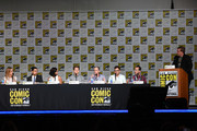 "(L-R) Actress Laura Regan, actor Wilmer Valderrama, actress Meagan Good, actor Stark Sands. producer Max Bornstein, producer Kevin Falls and producer Darryl Frank speak onstage at the ""Minority Report"" panel during Comic-Con International 2015 at the San Diego Convention Center on July 10, 2015 in San Diego, California."
