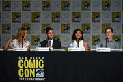 "(L-R) Actress Laura Regan, actor Wilmer Valderrama, actress Meagan Good and actor Stark Sands speak onstage at the ""Minority Report"" panel during Comic-Con International 2015 at the San Diego Convention Center on July 10, 2015 in San Diego, California."