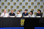 (L-R) Actor Mike Henry, writer Rich Appel, actor Seth Green, writer Steve Callaghan, actress Alex Borstein and filmmaker Seth MacFarlane speak onstage at the Seth MacFarlane Animation Block during Comic-Con International 2015 at the San Diego Convention Center on July 11, 2015 in San Diego, California.