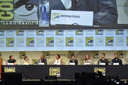 "(L-R) Director Zack Snyder, actress Holly Hunter, actor Jeremy Irons, actress Gal Gadot, actor Jesse Eisenberg, actress Amy Adams, actor Henry Cavill and actor Ben Affleck from ""Batman v. Superman: Dawn of Justice"" attend the Warner Bros. presentation during Comic-Con International 2015 at the San Diego Convention Center on July 11, 2015 in San Diego, California."