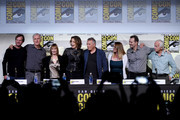 "(L-R) Actor Bill Paxton, director James Cameron, producer Gale Anne Hurd, actors Sigourney Weaver, Paul Reiser, Carrie Henn, Michael Biehn, and Lance Henriksen attend the ""Aliens: 30th Anniversary"" panel during Comic-Con International 2016 at San Diego Convention Center on July 23, 2016 in San Diego, California."