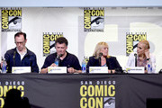 """(L-R) Actor/writer/producer Mark Gatiss, writer/producer Steven Moffat, producer Sue Vertue, and actress Amanda Abbington attend the """"Sherlock"""" panel during Comic-Con International 2016 at San Diego Convention Center on July 24, 2016 in San Diego, California."""