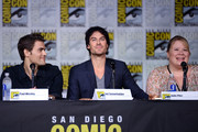 """(L-R) Actors Paul Wesley and Ian Somerhalder and writer/producer Julie Plec attend the """"The Vampire Diaries"""" panel during Comic-Con International 2016 at San Diego Convention Center on July 23, 2016 in San Diego, California."""