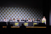 """(L-R) Actors Zach Roerig, Michael Malarkey, Kat Graham, writer/producer Kevin Williamson, actors Paul Wesley and Ian Somerhalder, writer/producer Julie Plec, actors Candice King and Matt Davis, and moderator Samantha Highfill attend the """"The Vampire Diaries"""" panel during Comic-Con International 2016 at San Diego Convention Center on July 23, 2016 in San Diego, California."""