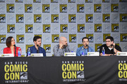 "(L-R) Actors  Lana Parrilla and Colin O'Donoghue, writer/producers David H. Goodman, Edward Kitsis and Adam Horowitz attend ABC's ""Once Upon A Time"" panel during Comic-Con International 2017 at San Diego Convention Center on July 22, 2017 in San Diego, California."