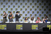 """(L-R) Actors Danielle Panabaker, Tom Cavanagh, Grant Gustin, Candice Patton, Jesse L. Martin, Keiynan Lonsdale, Todd Helbing and Carlos Valdes attend the """"The Flash"""" Video Presentation And Q+A  during Comic-Con International 2017 at San Diego Convention Center on July 22, 2017 in San Diego, California."""