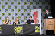 """(L-R) Actors Maggie Lawson, Kirsten Nelson and Corbin Bernsen and moderator Jimmi Simpson speak onstage at the """"Psych"""" reunion and movie sneak peek during Comic-Con International 2017 at San Diego Convention Center on July 21, 2017 in San Diego, California."""