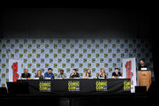 """(L-R) Producers Chris Henze and Kelly Kulchak, writer/producer Steve Franks, actors Dule Hill, James Roday, Maggie Lawson, Kirsten Nelson, and Corbin Bernsen, and moderator Jimmi Simpson speak onstage at the """"Psych"""" reunion and movie sneak peek during Comic-Con International 2017 at San Diego Convention Center on July 21, 2017 in San Diego, California."""