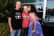 """(L-R) Actor Linden Ashby, executive producer Jeff Davis, and actor Melissa Ponzio from """"Teen Wolf"""" celebrate their final season backstage after their Hall H panel during Comic-Con International 2017 at San Diego Convention Center on July 20, 2017 in San Diego, California."""