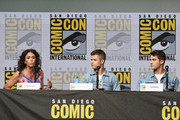 """(L-R) Actors Melissa Ponzio, Charlie Carver and Cody Christian speak onstage at the """"Teen Wolf"""" panel during Comic-Con International 2017 at San Diego Convention Center on July 20, 2017 in San Diego, California."""