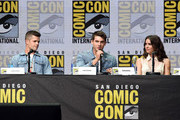 """(L-R) Actors Charlie Carver, Cody Christian and Shelley Hennig speak onstage at the """"Teen Wolf"""" panel during Comic-Con International 2017 at San Diego Convention Center on July 20, 2017 in San Diego, California."""