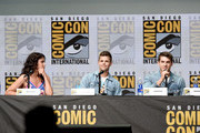 """Actors Melissa Ponzio, Charlie Carver and Cody Christian speak onstage at the """"Teen Wolf"""" panel during Comic-Con International 2017 at San Diego Convention Center on July 20, 2017 in San Diego, California."""