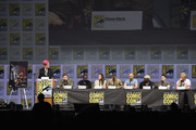 """(L-R) Grae Drake, Shane Black, Sterling K. Brown, Olivia Munn, Thomas Jane, Keegan-Michael Key, Trevante Rhodes, Augusto Aguilera, and Jake Busey speak onstage during the 20th Century Fox's """"The Predator"""" panel during Comic-Con International 2018 at San Diego Convention Center on July 19, 2018 in San Diego, California."""