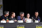 """(L-R) Rich Appel, Seth Green,  Alec Sulkin, Alex Borstein and Seth MacFarlane speak onstage at the """"American Dad"""" and """"Family Guy""""  Panel during Comic-Con International 2018 at San Diego Convention Center on July 21, 2018 in San Diego, California."""