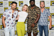 (L-R) Jay Hernandez, Perdita Weeks, Stephen Hill and Zachary Knighton of 'Magnum P.I.' attend CBS Television Studios Press Line during Comic-Con International 2018 at Hilton Bayfront on July 19, 2018 in San Diego, California.