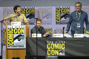 "(L-R) Karan Soni, David Leitch and Paul Wernick speak onstage at the ""Deadpool 2"" panel during Comic-Con International 2018 at San Diego Convention Center on July 21, 2018 in San Diego, California."