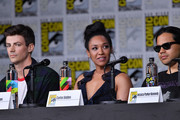 """(L-R) Grant Gustin, Candice Patton and Carlos Valdes speak onstage at the""""The Flash"""" Special Video Presentation and Q&A during Comic-Con International 2018 at San Diego Convention Center on July 21, 2018 in San Diego, California."""