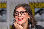 "Mayim Bialik speaks onstage at Inside ""The Big Bang Theory"" Writers' Room during Comic-Con International 2018 at San Diego Convention Center on July 20, 2018 in San Diego, California."