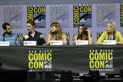 "Nathaniel Halpern, Dan Stevens, .Rachel Keller, Aubrey Plaza and Jean Smart speak onstage at the ""Legion"" discussion and Q&A during Comic-Con International 2018 at San Diego Convention Center on July 22, 2018 in San Diego, California."