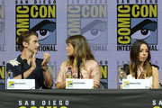 "(L-R) Dan Stevens, Rachel Keller and Aubrey Plaza speak onstage at the ""Legion"" discussion and Q&A during Comic-Con International 2018 at San Diego Convention Center on July 22, 2018 in San Diego, California."