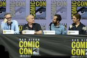 "(L-R) John Cameron, Jeph Loeb, Nathaniel Halpern, and Dan Stevens speak onstage at the ""Legion"" discussion and Q&A during Comic-Con International 2018 at San Diego Convention Center on July 22, 2018 in San Diego, California."