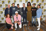 (L-R) Tom Kelly, Fiona Dourif, Jason Blum, Anthony Hemingway, James DeMonaco, Brad Fuller, Amanda Warren, Gabriel Chavarria and Lex Scott Davis attend the 'The Purge' Press Line during Comic-Con International 2018 at Hilton Bayfront on July 21, 2018 in San Diego, California.