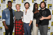 (L-R) David Ajala, Gretchen Mol, Eoin Macken, Jodie Turner-Smith, and Angus Sampson attend SYFY'S 'Nightflyers' Press line during Comic-Con International 2018 at Hilton Bayfront on July 19, 2018 in San Diego, California.