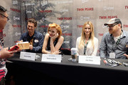 "(L-R) Actors George Griffith, Nicole LaLiberte, Amy Shiels, and John Pirruccello attend ""Twin Peaks"" autograph signings and fan events during  Comic-Con International 2018 at San Diego Convention Center on July 20, 2018 in San Diego, California."