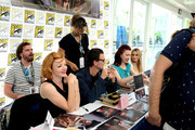 "(L-R) Nicole LaLiberte, George Griffith, Chrysta Bell, and Amy Shiels attend ""Twin Peaks"" autograph signings and fan events during  Comic-Con International 2018 at San Diego Convention Center on July 20, 2018 in San Diego, California."