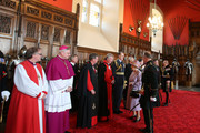 Queen Elizabeth II speaks with guests in the Great Hall as she attended a commemorative service for the Scottish National War Memorial at Edinburgh Castle on July 3, 2014 in Edinburgh, Scotland.