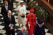 Members of Britain's Royal family leave after attending the Commonwealth Service at Westminster Abbey in London, Monday, March 11, 2019. Commonwealth Day has a special significance this year, as 2019 marks the 70th anniversary of the modern Commonwealth - a global network of 53 countries and almost 2.4 billion people, a third of the world's population, of whom 60 percent are under 30 years old. (AP Photo/Kirsty Wigglesworth, Pool)