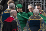 Meghan, Duchess of Sussex leaves after attending the annual Commonwealth Day Service at Westminster Abbey on March 9, 2020 in London, England.
