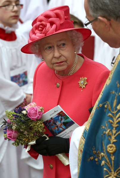 HRH Queen Elizabeth II departs after attending the Commonwealth day observance service at Westminster Abbey on March 10, 2014 in London, England.